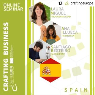 #Repost craftingeurope • • • • • • 💡Crafting Business Seminar - 22nd and 23rd February Take a look at some of the guest speakers, participants and partners who will be presenting over the two-day event! We hope you can join us! 🇪🇸Spain will be presenting on 22rd February and the spekers are: 📍 Laura Miguel, EOI-Fundesarte, Programme Lead 📍 Ana Illueca, Participant 📍 Santiago Besteiro, Participant 🔎Find out more about the speakers and agenda for the two days here: https://www.craftingeurope.com/news/crafting-business-seminar-22-23-february-2021/ eoischool fundesarte anaillueca santiagobesteiro #craftingeurope #creativeurope #craftingbusiness #wcceurope #craft #craftsmanship