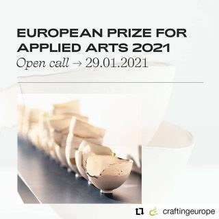 #Repost craftingeurope • • • • • • OPEN CALL for the European Prize for Applied Arts 2021. Dedicated to all artists working in the field of applied arts and artisanal design and residing in a European country (including non-EU members) TWO PRIZES: Ministry of Culture of the Wallonia-Brussels Federation & WCC-EUROPE For more Info visit becraftorg www.becraftcall.org DEADLINE: 29.01.2021 wcceurope #becraftorg #villedemons #federationwalloniebruxelles #wcceurope #craftingeurope #appliedarts #contemporaryappliedarts #artisanaldesign #craftsmanship #excellence #europe #exhibition #europeanexhibition #opencall